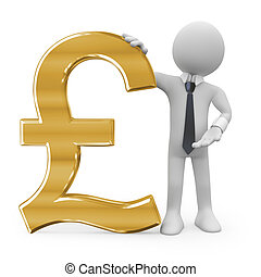 Business man with the pound sign - Image of an isolated...