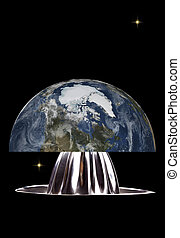 Planet earth on citrus juicer - Planet earth in space on a...