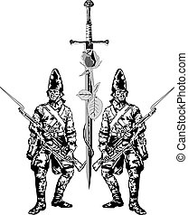 Knight - Two soldiers and an sword