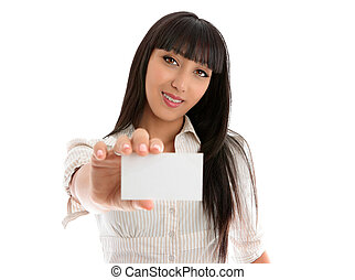 Girl holding club card, business card or other - Confident...