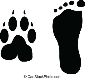Dog and man footprints silhouette - vector