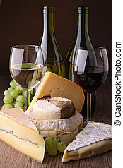 wineglass, cheese and grape - scenic rustic with wineglass,...