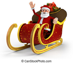 Santa in his sleigh - Cartoon Santa Claus sitting in his...