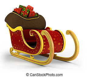Santas sleigh loaded with presents on white background -...