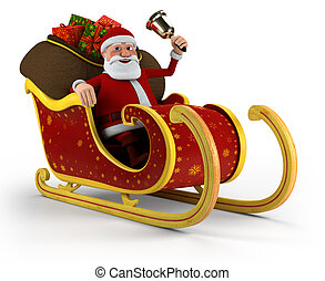 Santa in his sleigh - Cartoon Santa Claus with bell sitting...