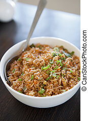 Singaporean fried rice - A bowl of delicious oriental fried...