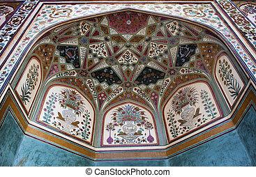 Amber Fort wall decorations. India, Rajasthan, Jaipur