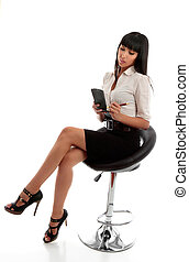 Businesswoman taking dictation or notes - A young pretty...