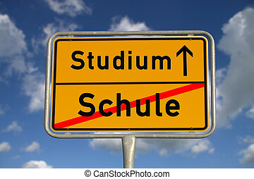 German road sign school and study with blue sky and white...
