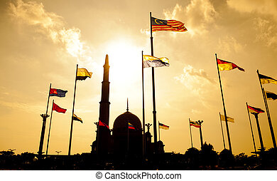 Putra Mosque Malaysia - Silhouette of Putra Mosque in sunset...