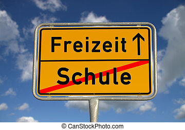 German road sign school and leisure with blue sky and white...