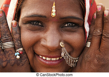 Indian woman - Portrait of a India Rajasthan woman with her...