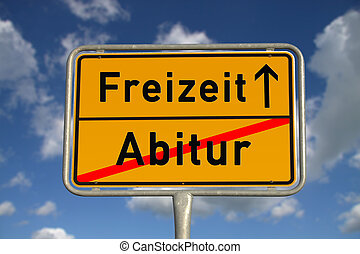 German road sign graduation and leisure with blue sky and...