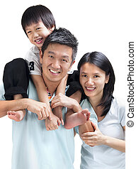 Happy Asian family on white background