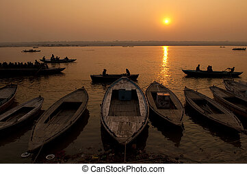 Ganges River - A stunning sunrise looking over the holiest...
