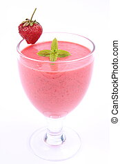 Strawberry shake in a glass decorated with a strawberry and...