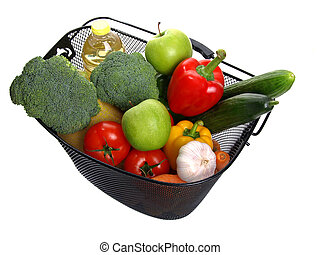 basket full of fresh colorful vegetables. (A shopping)