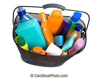 basket full of plastic bottle for lotion, shampoo, sunscreen...