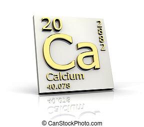 calcio, forma, periódico, tabla, elementos