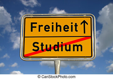 German road sign study and freedom with blue sky and white...