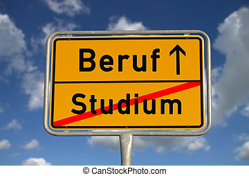 German road sign study and profession with blue sky and...