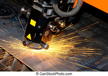 Indsutrial laser - Photo of the industrial laser with sparks...