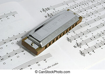 harp on stave - blues harp on an open stave