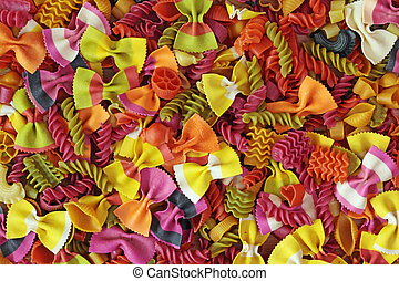 Colorful pasta background close up