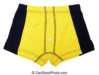 Yellow pants for a child on white