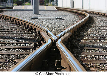 railway. - Close-up of the railway tracks complex junction.