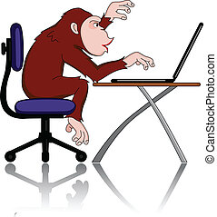 Monkey and computer - Vector illustration of