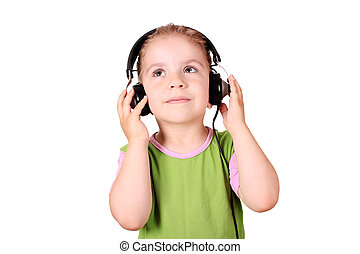 little girl listening music
