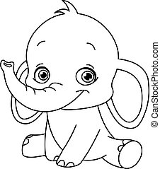 Outlined baby elephant
