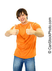 Portrait of a smart young guy gesturing a thumbs up on white...