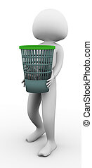 3d man carrying waste basket on the white background