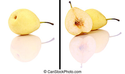 ripe fresh yellow pear with leaf isolated on white