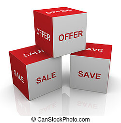 3d sale, offer and save words cubes - 3d render of boxes...