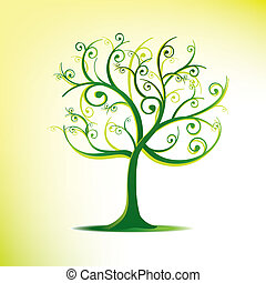 arbre, carte, stylisé, Tourbillons
