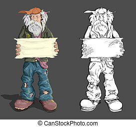 Homeless man with an empty plate in his hand. Vector...