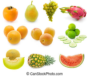 Set of fresh fruits over white background