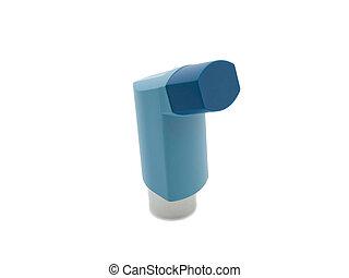 Blue asthma inhaler on white background
