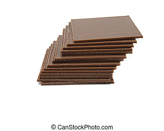 chocolate in bars isolated on white