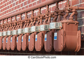 Water Meters - Water meters on the wall of apartment...