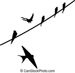 birds - Painted silhouettes of birds sitting on wires