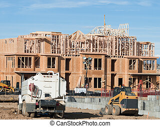 Timber work - Townhome construction with wood framing