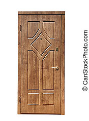 brown door on a white background
