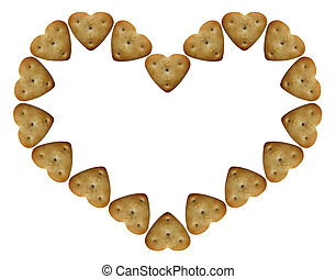 heart-shaped-cookie - heart-shaped isolated on a white...