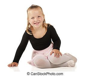 Tiny Ballerina - A pretty 3-year-old sitting pretty in her...