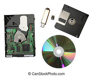 hdd,disk; flesh;regenerator - Heap of different devices,...