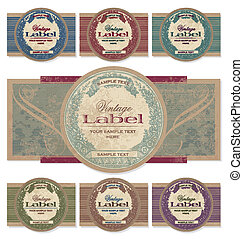 vintage labels set vector - set of 7 color variations of a...